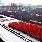 平壤十万市民集会响应媒体联合社论