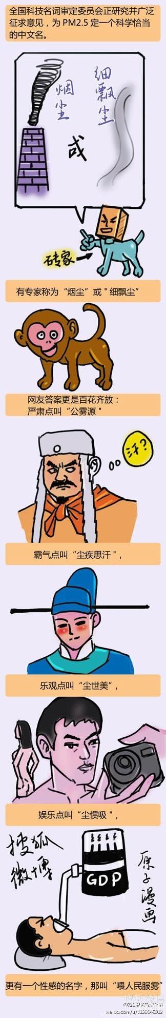 """【麻辣总局】""""喂人民服雾"""":图解 PM2.5中文名"""