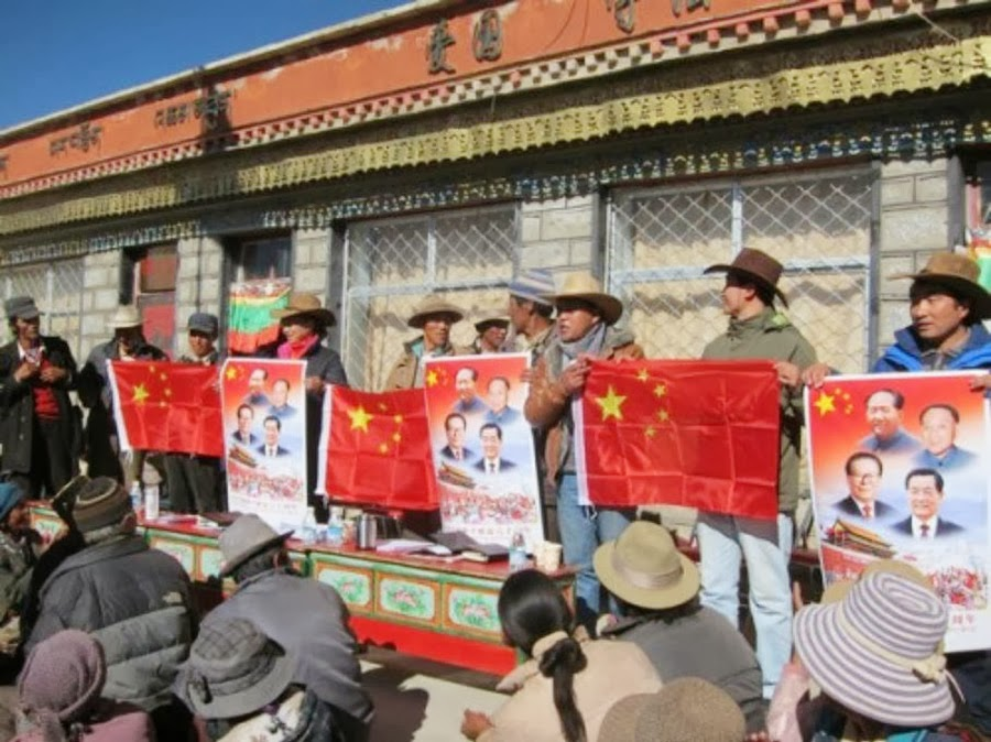 Tibetans-are-forced-to-raise-the-China-flag
