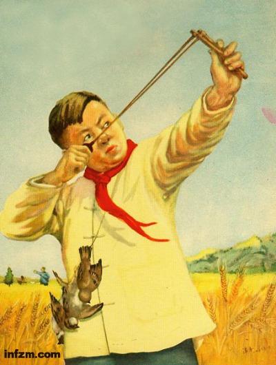 """除""""四害""""运动中的流行画:儿童用弹弓打麻雀。 (南方周末资料图)"""