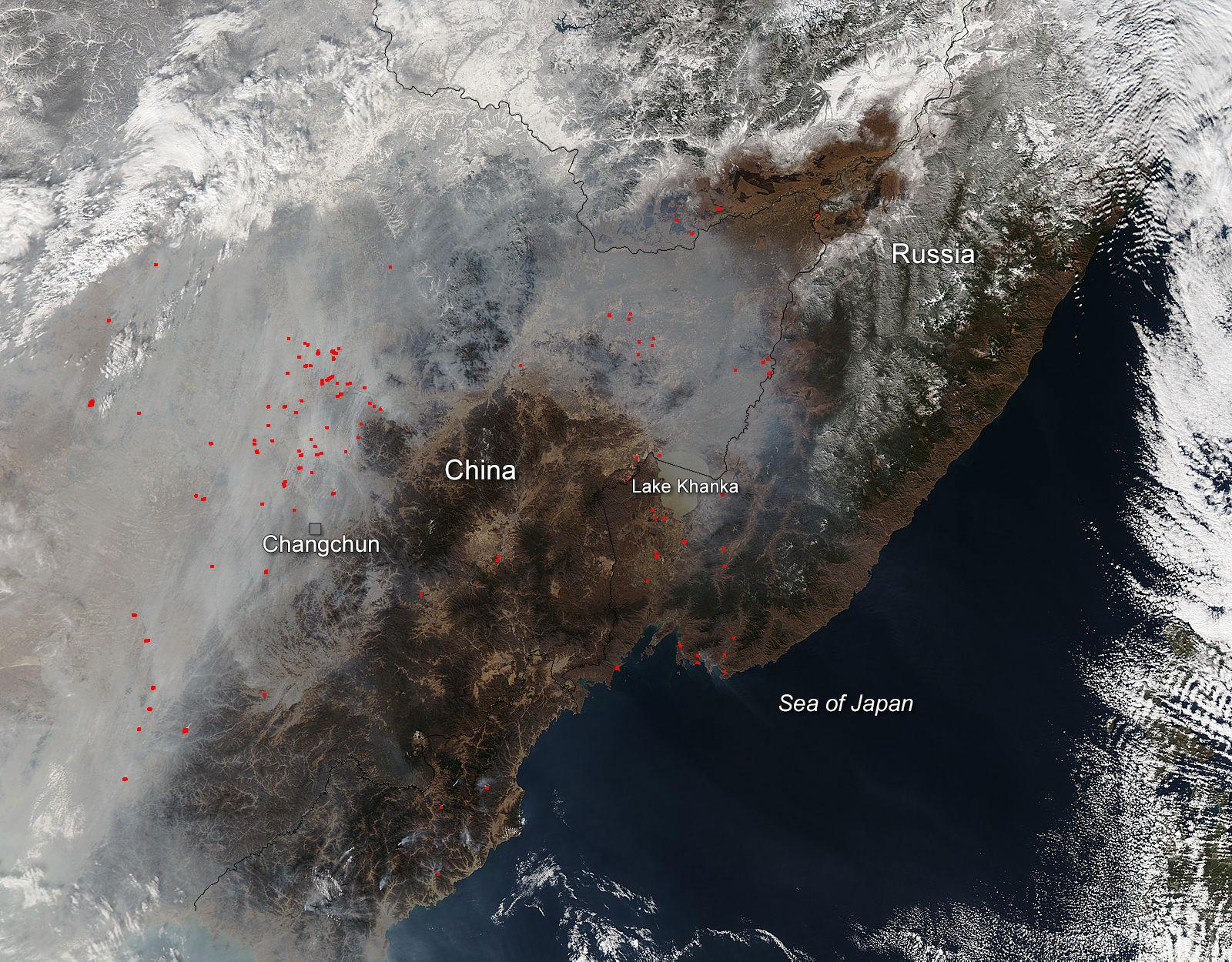 【图说天朝】NASA卫星照片展示中国上空的雾霾