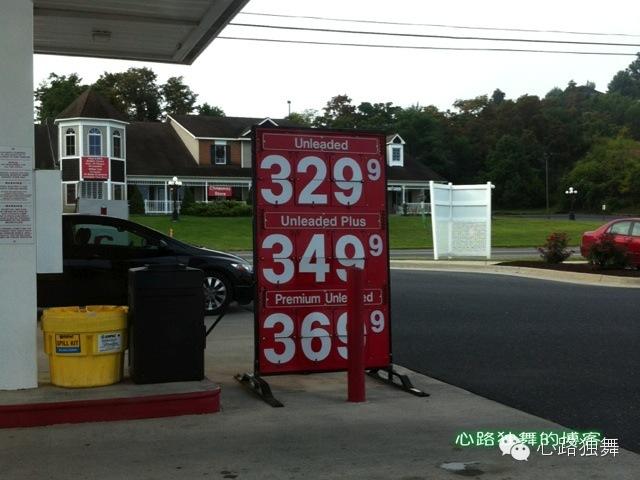 2013年8月同天弗吉尼亚加油站87号(相当国内93号)汽油3.29美元/加仑