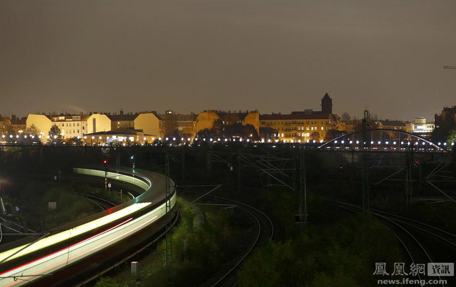 General view of installation Border of Light along former Berlin Wall location in Berlin