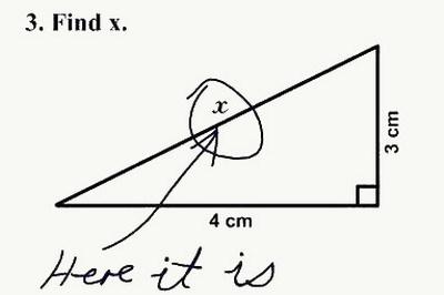 网络中广为流传的美国学生在数学试卷上闹出的笑话