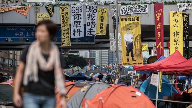 """""""占领中环""""抗议历时79天结束。"""
