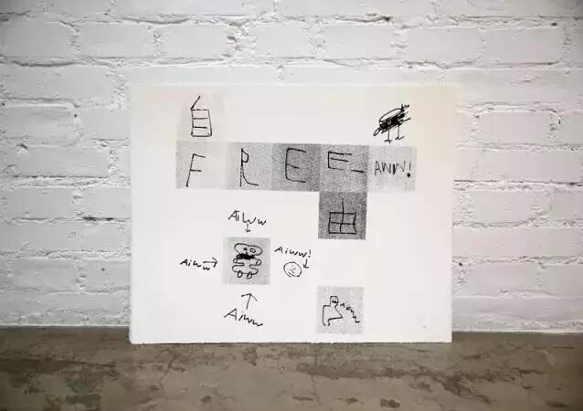 """画 艾未未的儿子画给他的画,上面写着""""free aiww""""。艾未未的妻子和6岁的儿子现在住在德国,他们已经一年没有见面。"""