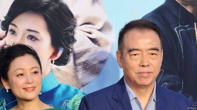 导演陈凯歌与妻子出席《道士下山》北京首映
