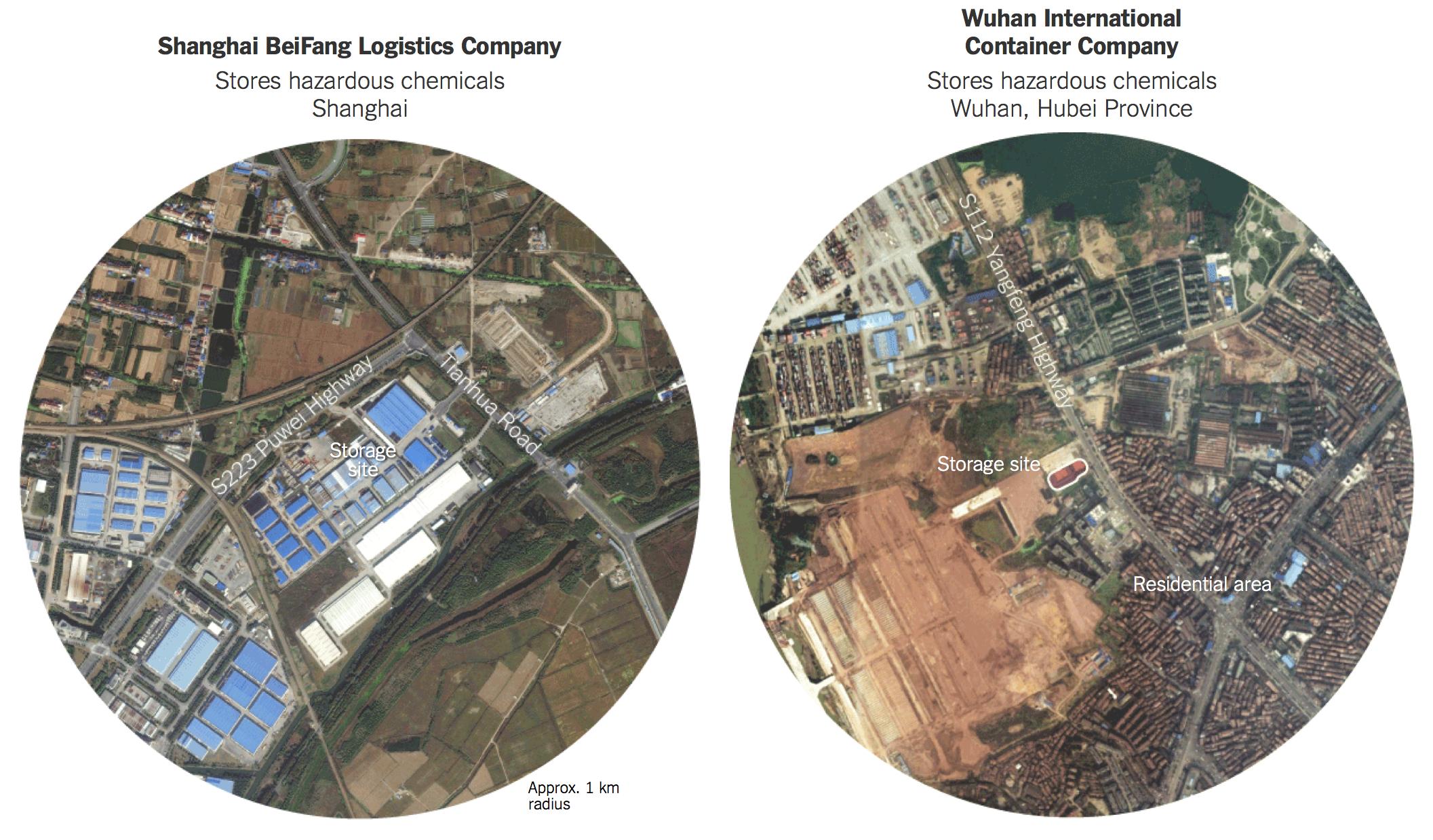 纽约时报|中国各地危化品与居民区的致命距离