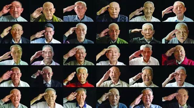 南京大学生耗时3个月拍摄的30位抗战老兵敬礼照