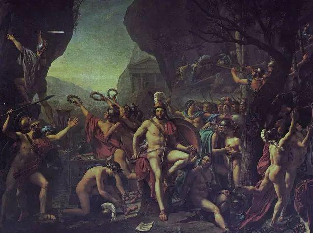 《列奥尼达在温泉关》。温泉关战役是希波战争中的著名战役,据古希腊作家希罗多德描述,希腊城邦斯巴达的国王列奥尼达一世率领300名斯巴达人与波斯222万大军(陆军170万,海军52万)周旋了三天