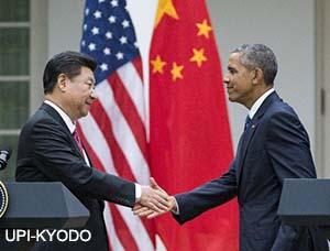 中国国家主席习近平在访美期间与奥巴马