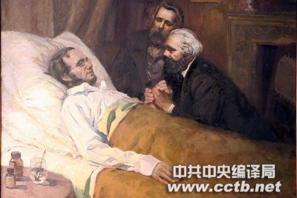 这幅油画描述的是马克思和恩格斯于1864年5月3日在曼彻斯特看望病重中的威廉·沃尔弗的情景。
