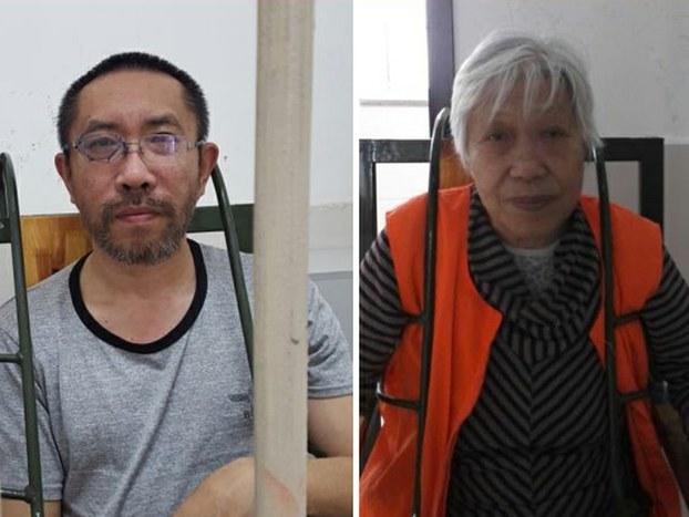 2015年7月,伤残的郭洪伟(左)生活无法自理,家属担心他被判监后情况将进一步恶化。2015年11月,79岁的肖蕴苓(右)坐在特制的椅子上,与代理律师进行会见。(家属提供)