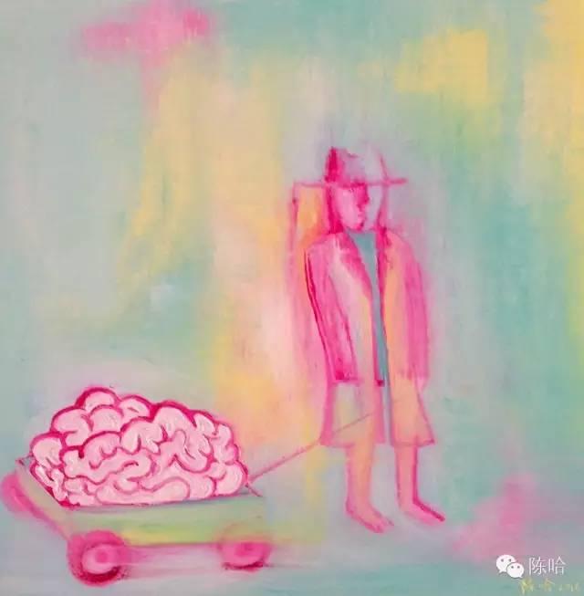 图:《谁的脑子丢了》油画.陈哈.2016