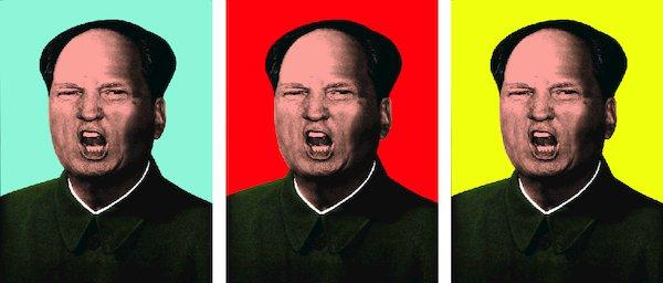 """Courtesy of Knowledge Bennett 洛杉矶艺术家Knowledge Bennett今年一月创作了以""""自我、权力、财富、政治""""为主题的混合媒质绘画系列,毛特朗普(Mao Trump)肖像画为其中之一。艺术家说他从两者身上找到某种相似。"""