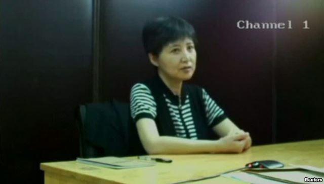 谷开来在法庭上(2013年8月23日,济南中级法院发布的视频的截图)