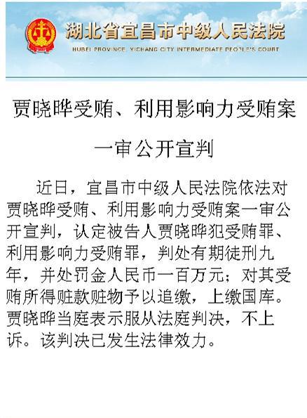 澎湃新闻 | 周永康妻子贾晓晔因受贿一审被判9年