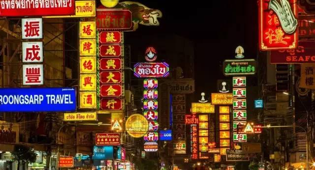 泰国曼谷华人街的夜景