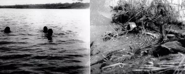 左图:被困水中的求生者;右图:洪水中遇难者的尸体