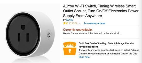 Garrett给出差评的AuYou牌WiFi控制、无线智能电源插座。