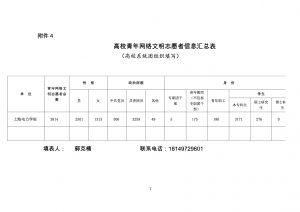 上海电力学院青年网络文明志愿者信息汇总表