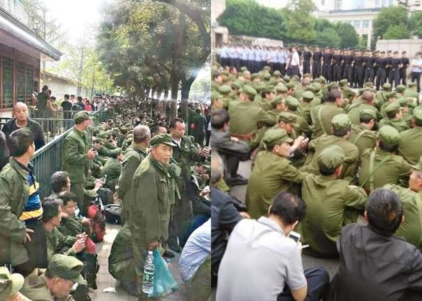 各地赶来的退伍军人集结在北京的中央军委大楼外,要求改善失业救济和社会福利。