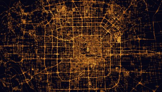北京夜晚路网密度图,由《自然》一篇论文提供的数据绘制而成。/Alasdair Rae