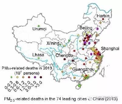 中国循环杂志 | 南京大学学者绘制中国PM2.5污染死亡地图