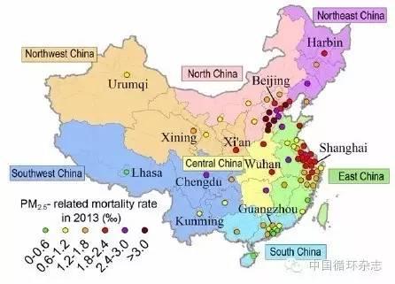 图3 2013年74个大城市PM2.5污染相关的死亡率