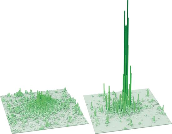 伦敦休息时间(左)和工作时间人口密度图。/LSE Cities