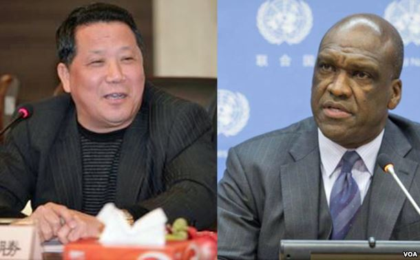 澳门大地产商吴立胜(左) 起诉书指第68届联大主席、安提瓜和巴布达驻联合国代表约翰·阿什 (美国之音合成图片)