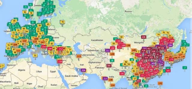 2015年的一张PM2.5分布地图