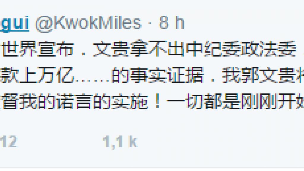法广 | 郭文贵推特继续曝料直指反腐最高官家人豪华专机性丑闻