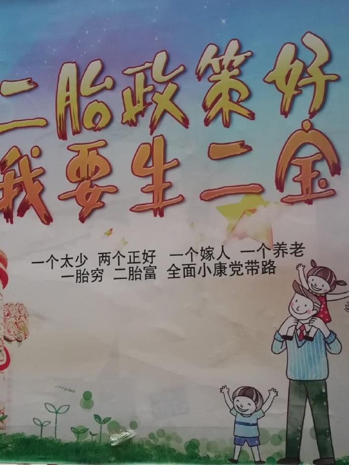 【图说天朝】某地二胎政策宣传语:一个嫁人 一个养老