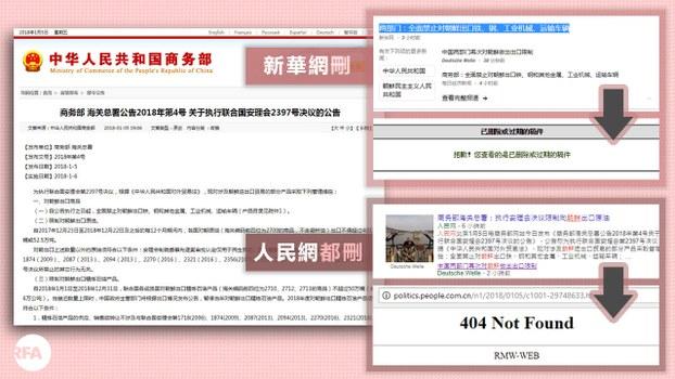 自由亚洲 | 新华社删商务部、海关总署联合禁朝运输公告