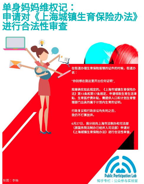 单身妈妈维权记:申请对上海生育保险办法进行合法性审查