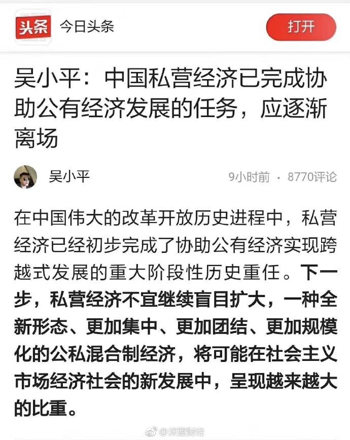 【异闻观止】吴小平:私营经济应逐渐离场……