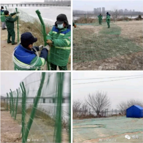 Fencing was installed along the Chaobai River between Yanjiao and Beijing
