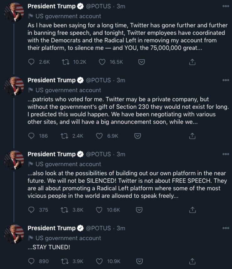 特朗普使用总统官方账号发布的推特