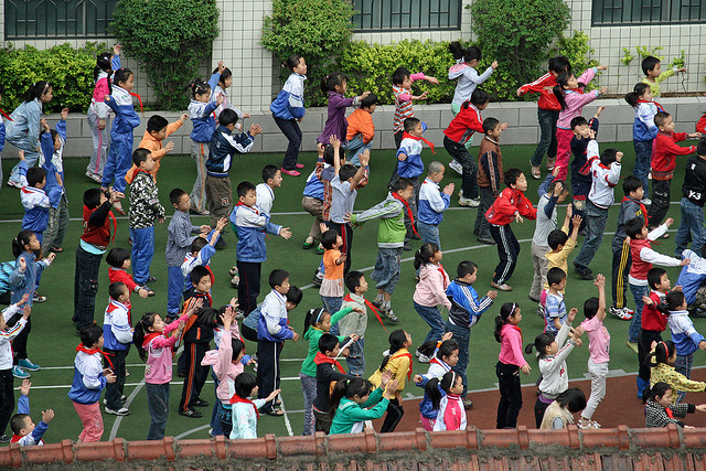 Morning exercise for schoolchildren in Xi'an