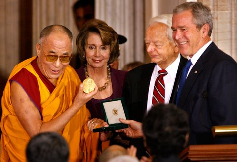 Ceremony to present Dalai Lama with Congressional Medal of Honor, (October 2007).