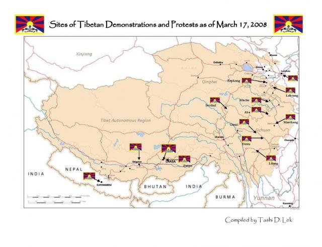 Tibet protest map