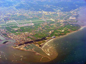 Taipei\'s Taoyuan airport, seen from the air.