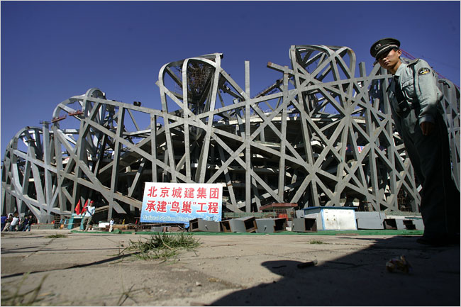 Construction of the Birds Nest three months after the head of Olympic Construction was dismissed. (Doug Mills/The New York Times)