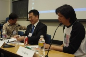 Hu Yong, Liu Xiaobiao, and moderator Xiao Qiang (left to right)