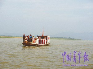 On August 11, the 'liner' transports villagers into town.