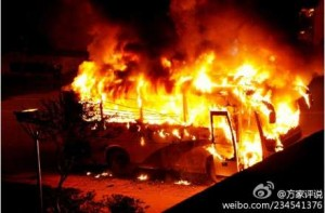 A vehicle burning in Luzhou, Sichuan.