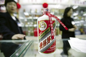 Moutai in a Beijing shopping mall. (Stephen Shaver/Bloomberg News)
