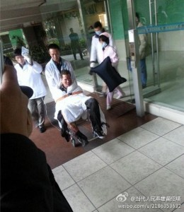 A man injured in yesterday's suicide bombing in Guangzhou.