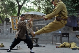 Succumbing to a kung fu master: all in a day's work.